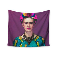"Oriana Cordero  ""Trendy Frida Kahlo"" Purple Teal Wall Tapestry"