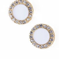 Round White Stud Earrings with Crystals