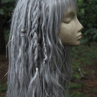 READY TO SHIP! Silver Synthetic Dreadlock Wig * Synthetic Dreads * Dread Beads * Dreadlock Wraps  * Tribal * Shaman * Witch * Pastel Goth *