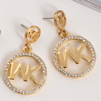 MICHAEL KORS New fashion earrings round letter diamond jewelry women Gold