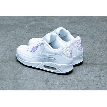 NIKE AIR MAX 90 fashion ladies men running sports shoes sneakers F-PS-XSDZBSH All white + radium