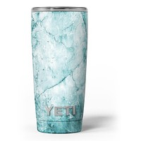 Cracked Turquoise Marble Surface - Skin Decal Vinyl Wrap Kit compatible with the Yeti Rambler Cooler Tumbler Cups