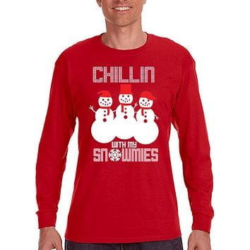 XtraFly Apparel Men's Chillin with my Snowmies Snowman Ugly Christmas Long Sleeve T-Shirt