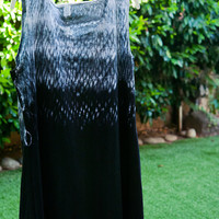 Black Shibori Summer Dress - A-line dress - black cotton dress  knee length dress - Shibori cotton dress