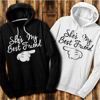 Fashion Best Friends Hoodies Print Hooded Tops Women's Fashion Casual Hoodies Top [9324880260]