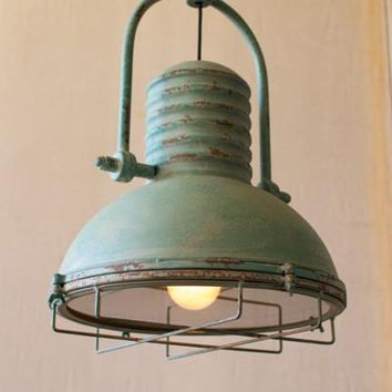 Pendant Light with Glass & Wire Cage - Antique Turquoise