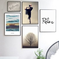 Ocean Girl Tree Beach Landscape Quotes Wall Art Canvas Painting Nordic Posters And Prints Wall Pictures Living Room Home Decor