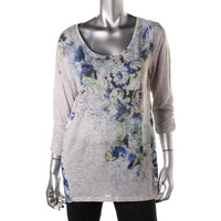 Style & Co. Womens Printed Studded Pullover Top