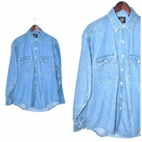 minimalist DENIM shirt vintage early 90s CLASSIC blue chambray gender neutral Gap OXFORD shirt os