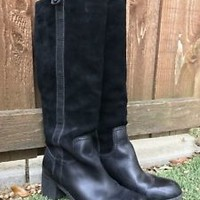 BCBG Generation Black SUEDE & LEATHER Tall Knee High Riding Boots Sz 8