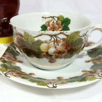 Vintage Unmarked Grape Teacup and Saucer/Grape with Gold Grapevine Trim Cup and Saucer/Tea Time Cup and Saucer