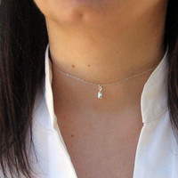 Tiny Dewdrop Choker, Dainty Choker Necklace, 925 Sterling Silver, Short Necklace, Simple Layering Choker, Delicate Jewelry, Gift Under 25