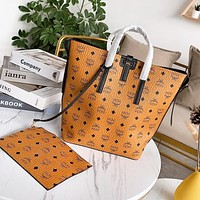 Wearwinds MCM hot casual full printed logo lady shopping portable two-piece set aslant shoulder bag High quality