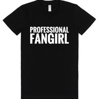Professional Fangirl Fitted T-shirt (wht 312193)-Black T-Shirt