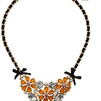 Betsey Johnson Crystal Flower Statement Necklace