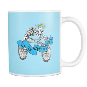 Fun Never Dies Skeleton Riding Bicycle Coffee Mug