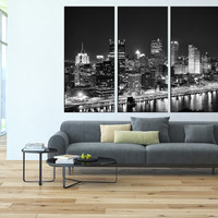 pittsburgh canvas art print, extra large wall art, citycape art, pittsburgh!s skyline wall art, pittsburgh contemporary wall decor t109