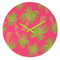 Allyson Johnson Summer Palm Trees Pink Round Clock