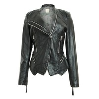 ZLYC Twin Zip Leather Look Biker Jacket for Women