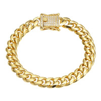 Stainless Steel Miami Cuban 8mm Bracelet 14k Gold Finish designer Iced Out Lock
