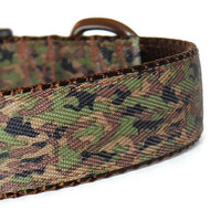 Camouflage Adjustable Boy Dog Collar - Brown and Green Camo (Buckle or Martingale)