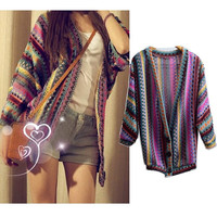 Vintage Boho Ethnic Rainbow Weave Stripe Knit Sweater Cardigan Tops Coat Outwear