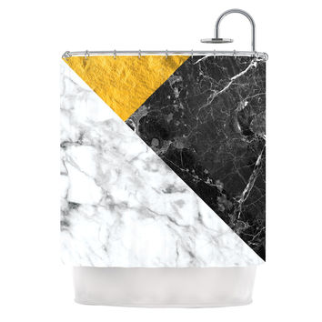"KESS Original ""Geo Marble and Gold"" Digital Geometric Shower Curtain"