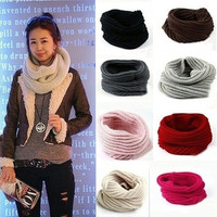NEW--New Womens Mens Winter Warm Infinity 1 Circle Cable Knit Cowl Neck Scarf Shawl = 1958168196