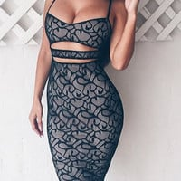 Black Cut Out Spaghetti Strap Lace Dress
