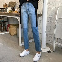 Two Tone Slim Straight Jeans