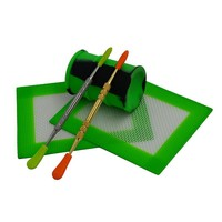 Silicone Dab Kit - 2x Dab Mats, 2x Silicone-Tipped Dabbers, and The Oil Barrel Storage Container