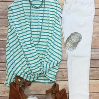 Knotted Stripe Tank Top: Teal