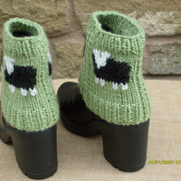 Hand Knitted Ladies Ankle Boot Cuffs Sheep design Black Sheep in Aran Wool rich yarn, with wool Ready to ship from UK