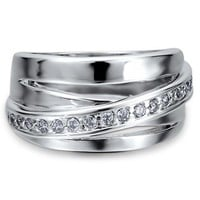 Sterling Silver Cubic Zirconia CZ Criss Cross Right Hand Fashion Ring #r482