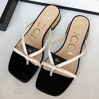 GUCCI 2020 new G home slippers tide brand fashion flip flops thick heel flat shoes lazy shoes