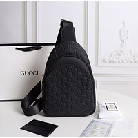 Gucci New Men Classic Leather Large Capacity Luggage Travel Bag