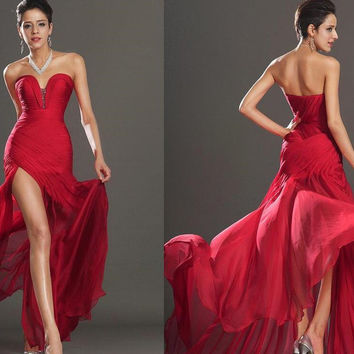 Simple Red Chiffon Sweetheart Prom Dresses