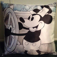 Mickey Mouse Steam Boat Willie Disney Pillow Big SATIN Pillow 17 by 17