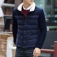 Moss Cable Knit Sleeve Winter Puffer Jacket