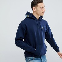 River Island Hoodie With Rose Embroidery In Navy at asos.com