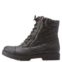 Black Quilted Combat Booties by Charlotte Russe