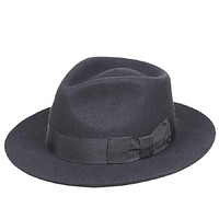 Classic Men's Black Wool Fedora Gentleman Hat Wide Brim