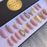 Pink Nude Press On Nails | Genuine Swarovski Crystals | Gold Leaf & Gold Accents | Fake False Glue On Nails | Nail Art Design