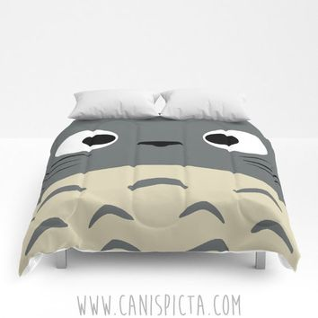 Totoro Comforter Kawaii My Neighbor Anime Twin XL Full QUEEN KING sizes Decor Grey Studio Curiously Ghibli Chibi Bed Bedroom Bedding Covers