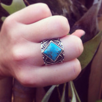 Turquoise Silver Ring, Solid Sterling Aztec Ring, Bohemian Gypsy Ring in Solid Silver and Natural Turquoise