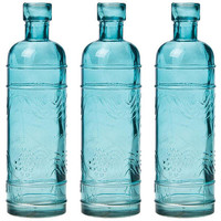 Small Antique Turquoise Bottle Vase (Set of 3)