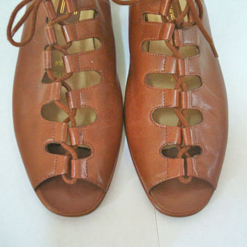 Vintage 80s Gladiator Sandals Leather Brown Women's Lace Up 7.5 N