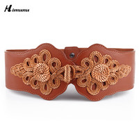 Hot European and American woven elastic butterfly buckle wide belt lady girdle fashion Cummerbunds Female belts for girdle women