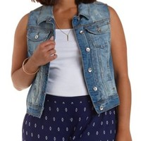 Plus Size Med Wash Denim Medium Wash Denim Vest by Charlotte Russe