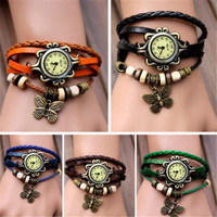 2015 New Design Women Bracelet Decoration Quartz Wrist Watch Design Butterfly Ornaments Leather Gift Free Shipping N721